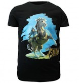 The Legend of Zelda The Legend of Zelda: Breath of The Wild Link Op Zijn Paard T-Shirt Zwart/Blauw