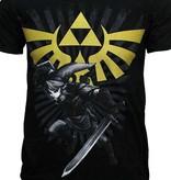 The Legend of Zelda The Legend of Zelda Link with Gold Hyrule Crest Logo T-Shirt Black/Gold