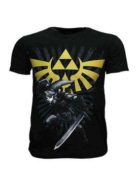 The Legend of Zelda The Legend of Zelda Link met Gouden Hyrule Crest Logo T-Shirt