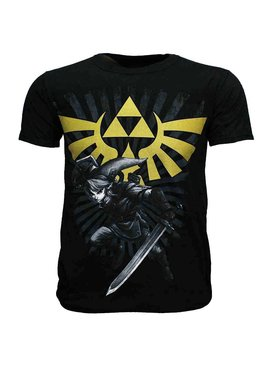 The Legend of Zelda The Legend of Zelda Link with Gold Hyrule Crest Logo T-Shirt