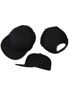 Basics Basic Plain Snapback Cap Black 3-Pack