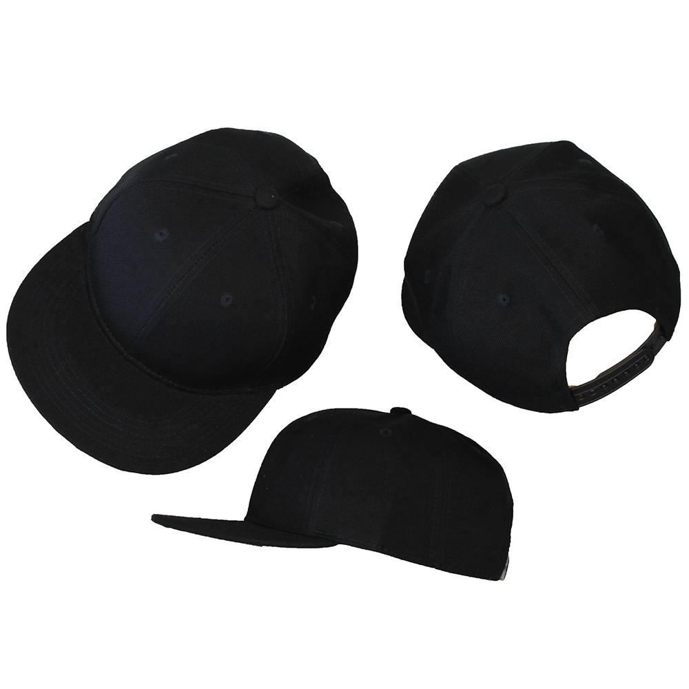 Basics Basic Plain Snapback Cap Black 3-Pack