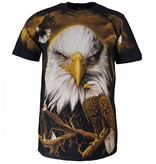 Rock Eagle / Biker T-Shirts Rock Eagle All over Print Eagle T-shirt Black/White/Yellow
