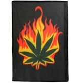 Fun & Fashion Burning Marihuana Weed Leaf Flag Black/Green/Red/Orange