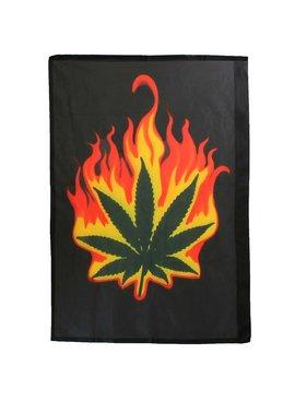 Burning Marihuana Leaf Flag