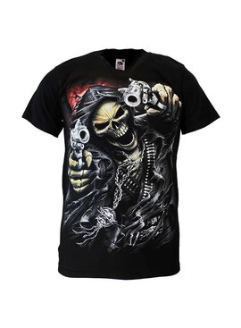 Rock Eagle / Biker T-Shirts Reaper Skull T-Shirt 'Two Guns'