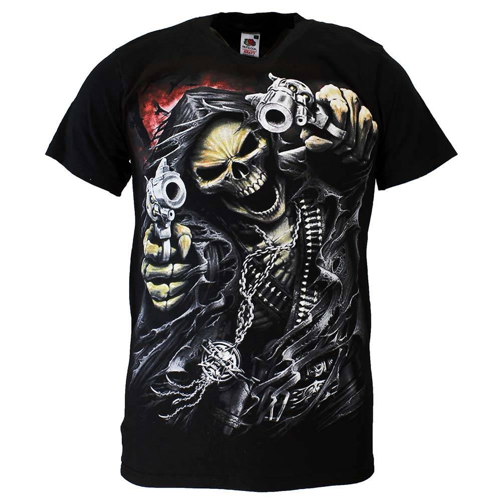 Rock Eagle / Biker T-Shirts Reaper Skull T-Shirt 'Two Guns' Black/Red