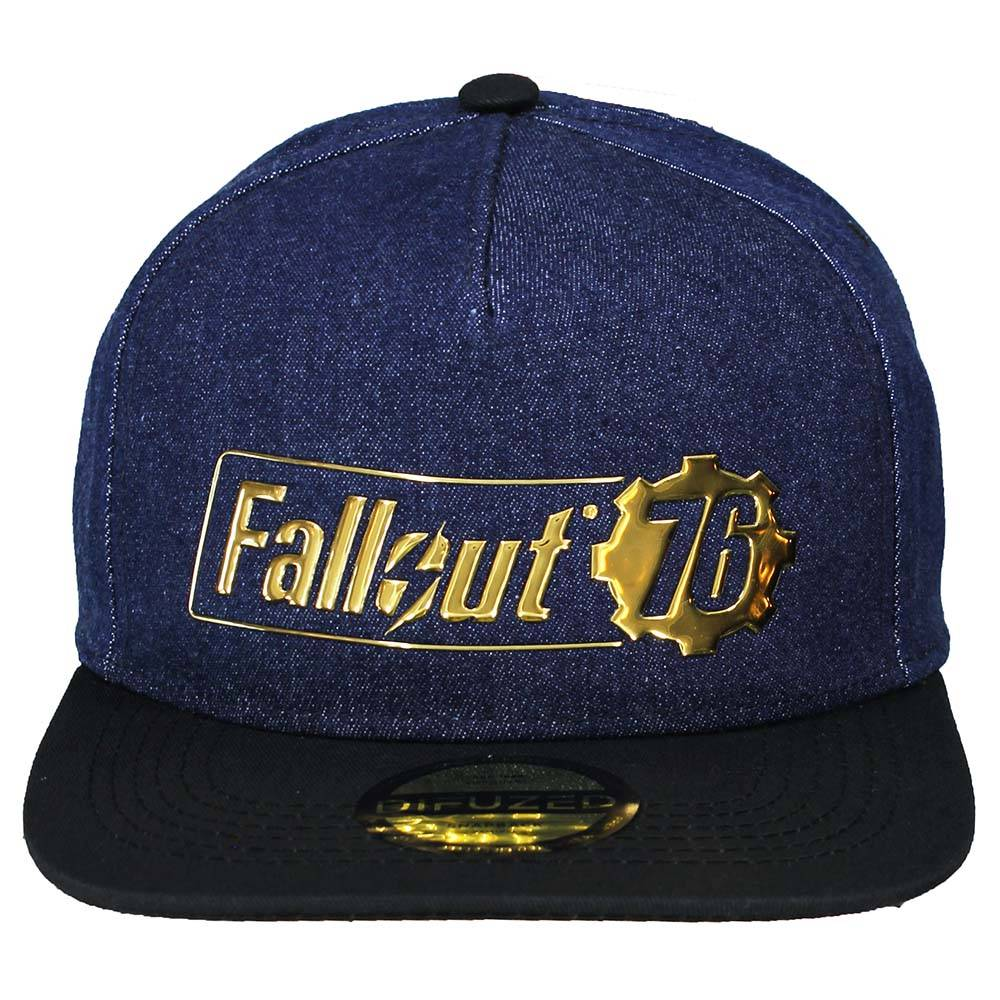 pretty nice 02f64 ce6e9 Fallout Fallout 76 Logo Badge Snapback Cap Blue Black Gold ...