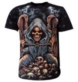 Rock Eagle / Biker T-Shirts Reaper op stapel Skulls T-Shirt Zwart