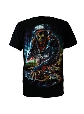 Rock Eagle / Biker T-Shirts Rock Chang Undead DJ Skull Glow in the Dark T-Shirt