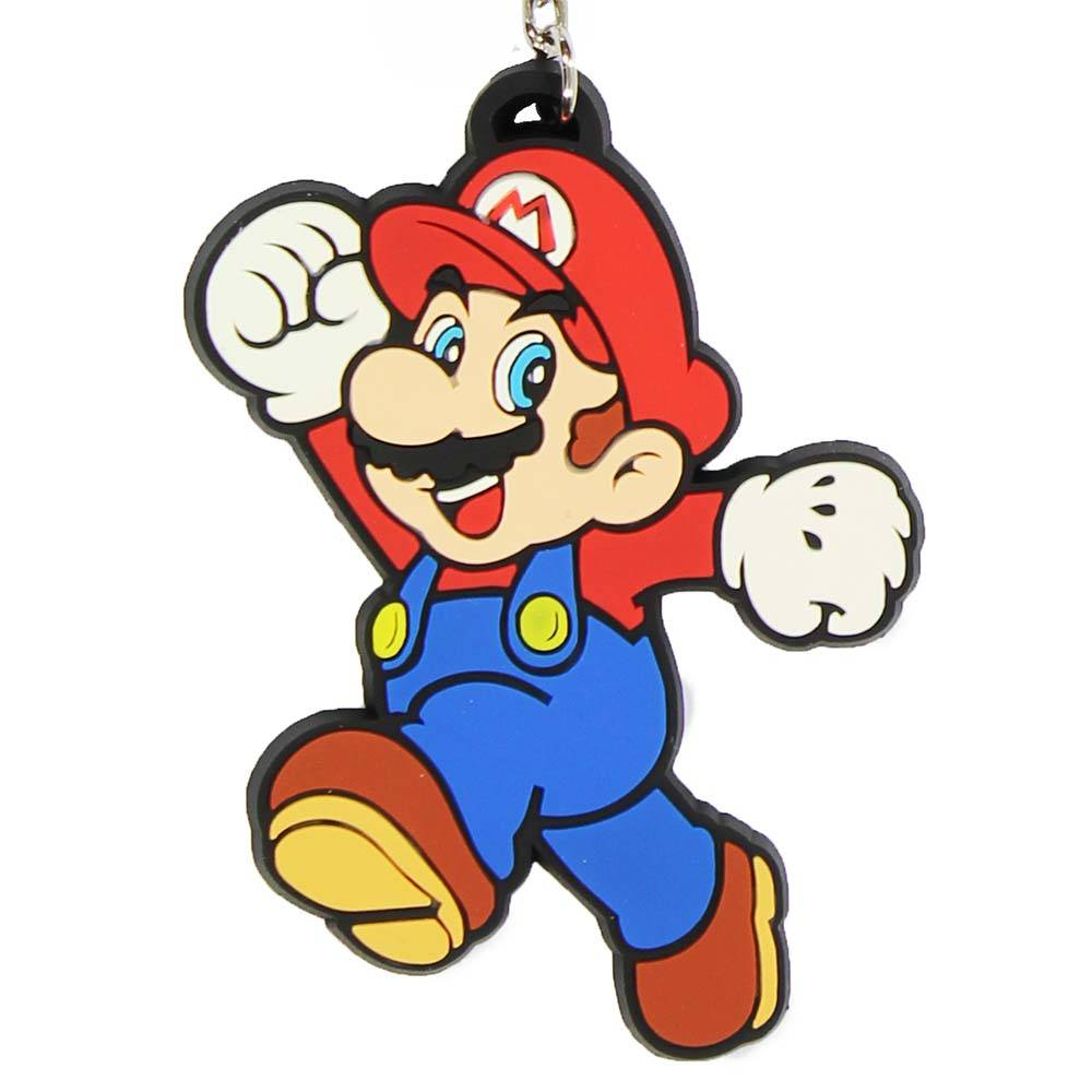 Super Mario Bros Nintendo Super Mario Jumping Rubberen Sleutelhanger Multicolor