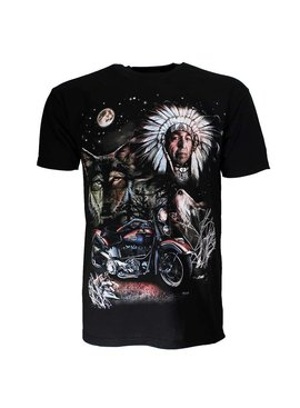Rock Eagle Native American Indiaan Motor Wolf Maan T-shirt