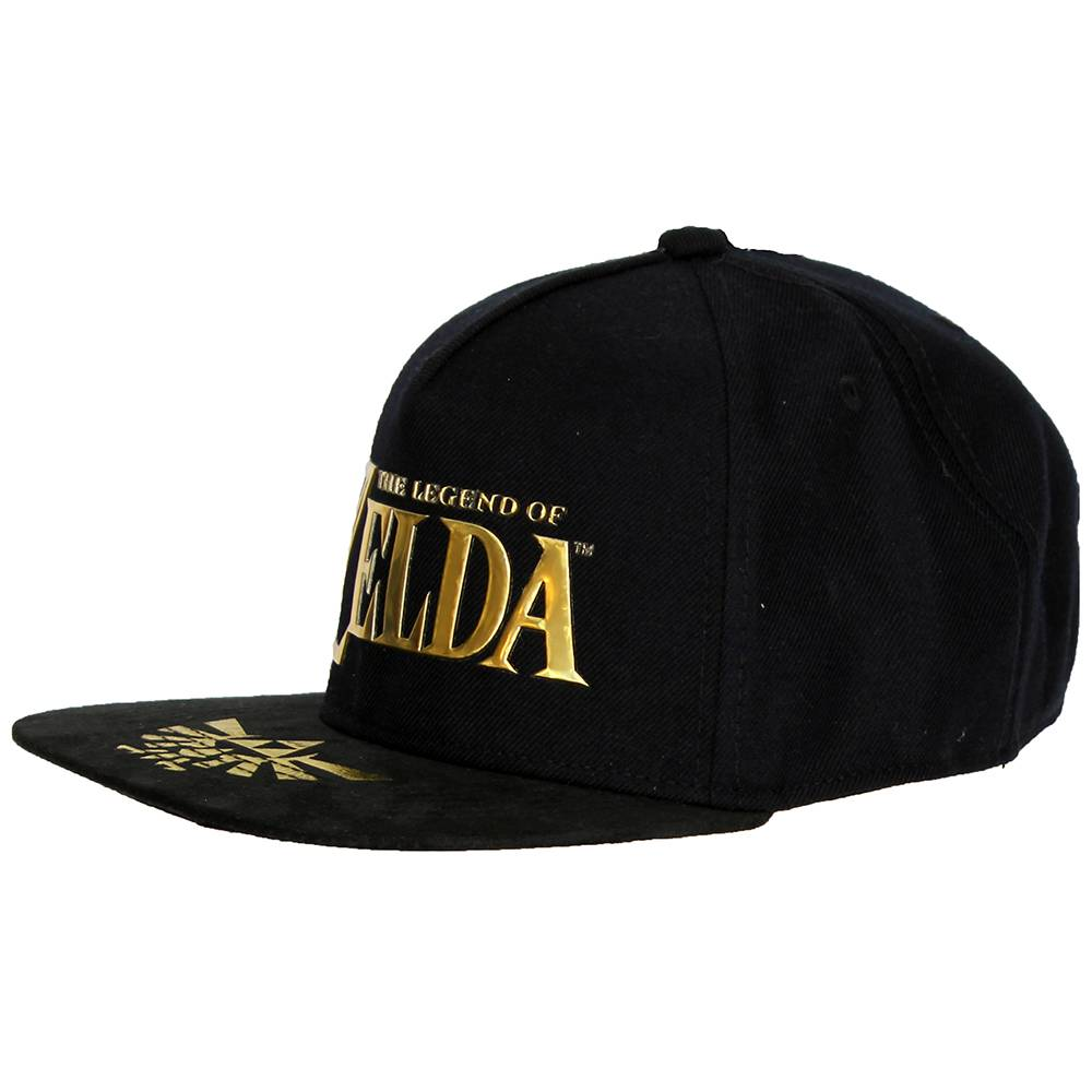 The Legend of Zelda The Legend of Zelda Snapback Cap Pet Hyrulian Crest logo on Bill Black / Gold