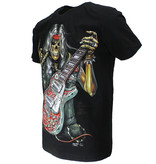 Rock Eagle / Biker T-Shirts Skull Rock Guitar Metal T-Shirt Zwart
