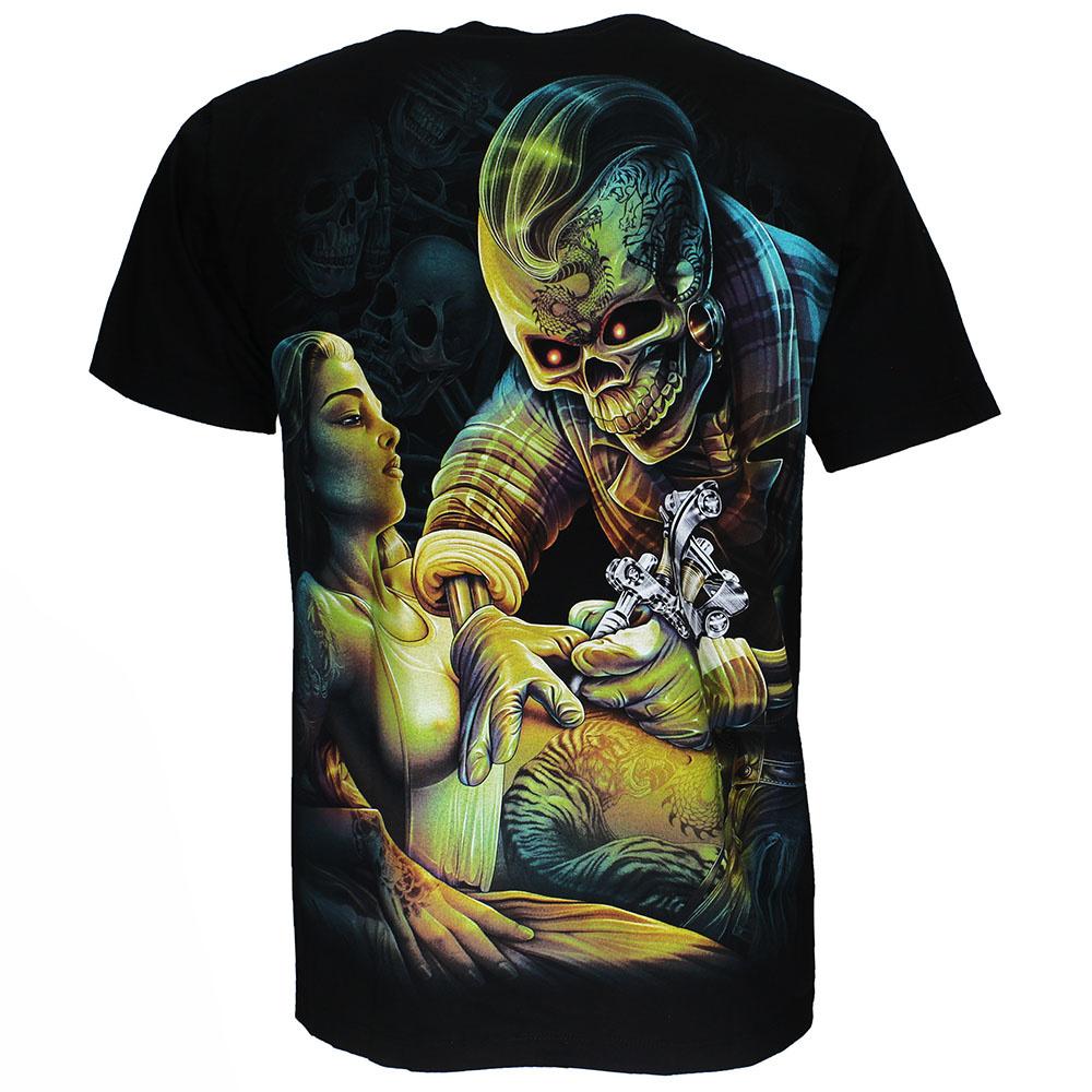 Rock Eagle / Biker T-Shirts Tattoo Artist Skelet 3D T-Shirt Zwart Glow in the Dark