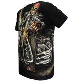 Rock Eagle / Biker T-Shirts Biker Skeleton With Gun T-Shirt Zwart