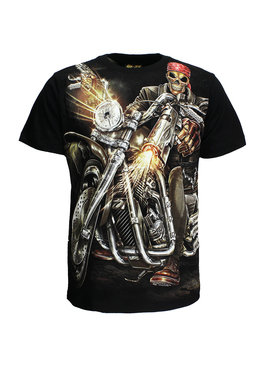 Rock Eagle / Biker T-Shirts Biker Skeleton With Gun T-Shirt