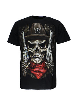 Rock Eagle / Biker T-Shirts Skull Sheriff 2 Guns T-Shirt Zwart
