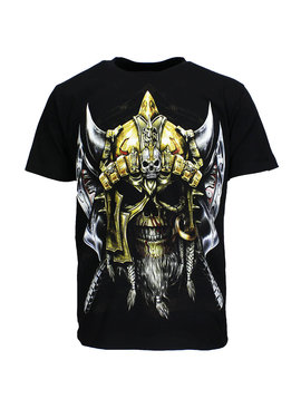 Rock Eagle / Biker T-Shirts Viking Skull T-Shirt Zwart