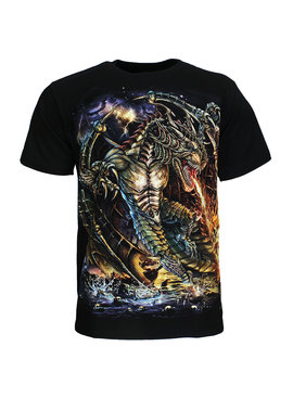 Rock Eagle / Biker T-Shirts Fire Dragon T-Shirt Zwart
