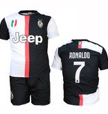 Juventus FC Juventus Replica Cristiano Ronaldo CR7 Home Kit Football T-Shirt + Shorts Set Season 2019/2020 Black / White
