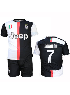 Juventus FC Juventus Replica Cristiano Ronaldo CR7 Home Kit Football T-Shirt + Shorts Set Season 2019/2020