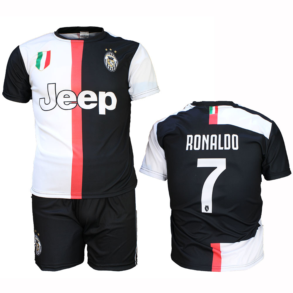 Voetbal Kleding / Football Clothing Juventus Replica Cristiano Ronaldo CR7 Home Kit Football T-Shirt + Shorts Set Season 2019/2020 Black / White