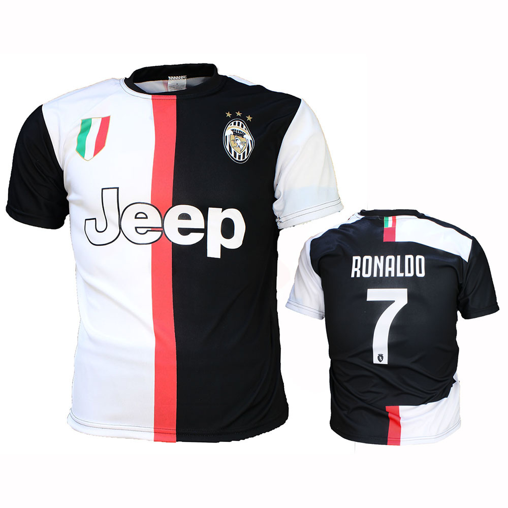 newest 6f6f0 eca2b Juventus Replica Cristiano Ronaldo CR7 Home Kit Football T-Shirt Season  2019/2020 Black / White