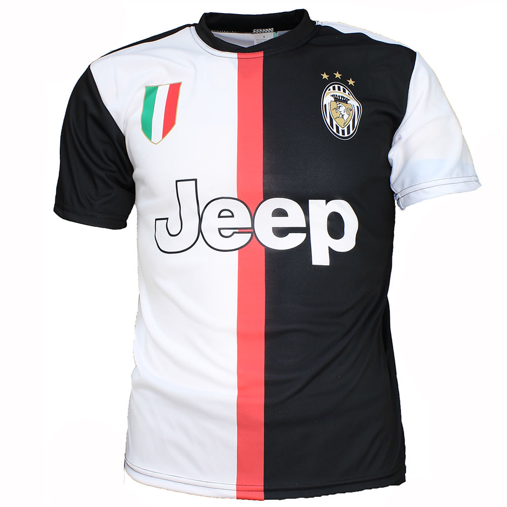 Voetbal Kleding / Football Clothing Juventus Replica Matthijs de Ligt Thuis Voetbal T-Shirt Seizoen 2019/2020 Zwart / Wit