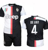 Juventus FC Juventus Replica Matthijs de Ligt Home Kit Football T-Shirt + Shorts Set Season 2019/2020 Black / White