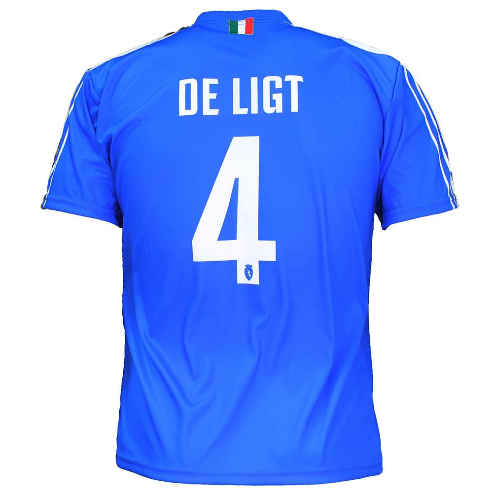 Juventus FC Juventus Replica Matthijs de Ligt Alternative 3rd Soccer Jersey Football T-Shirt + Shorts Set Blue / Yellow