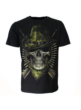 Rock Eagle / Biker T-Shirts Biker Skull T-Shirt Soldaat Glow in the Dark