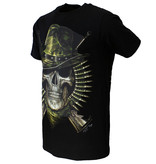 Rock Eagle / Biker T-Shirts Biker Skull T-Shirt Soldaat Glow in the Dark Zwart