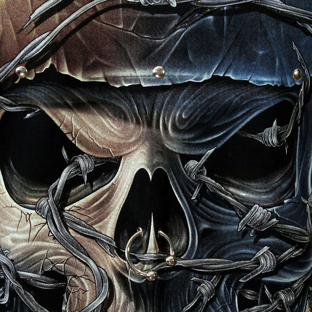 Rock Eagle / Biker T-Shirts Pierced Skull Rock 3D Glow in the Dark T-Shirt Black
