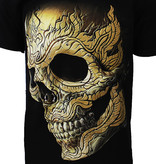 Rock Eagle / Biker T-Shirts Pierced Skull Rock T-Shirt 3D Glow in The Dark Zwart