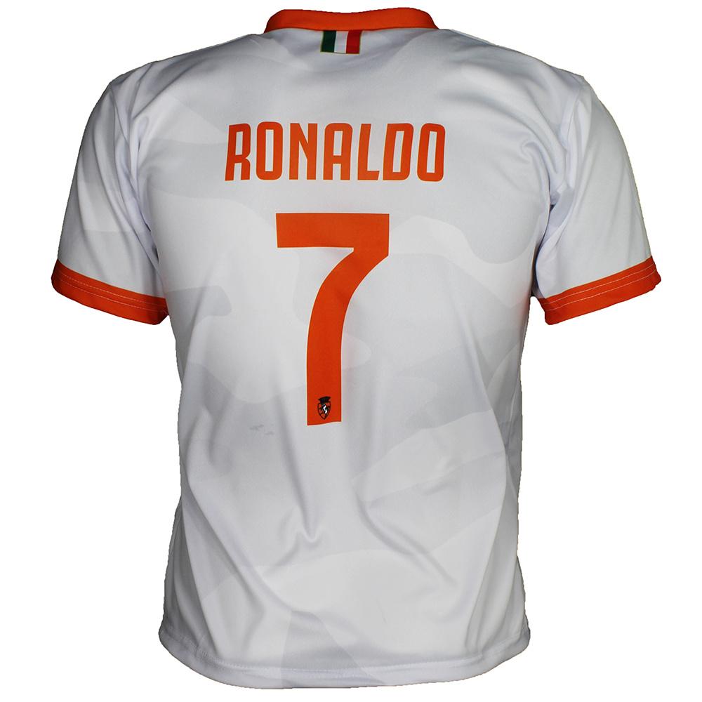Juventus Replica Cristiano Ronaldo CR7 Away Matches Football Kit T-Shirt + Shorts Set Season 2019/2020 White