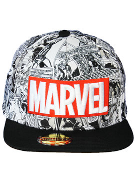 Marvel Comics: The Avengers, Captain America, Spider-Man, The Hulk, Thor, Black Panther, Deadpool, Ant-Man, Iron Man, The Punisher Marvel Comics Red and White Classic Logo Snapback Cap
