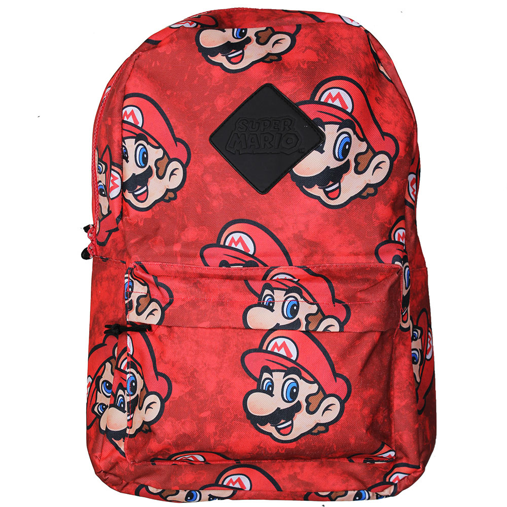 Super Mario Bros Nintendo Super Mario All Over Print Faces Backpack Official Red
