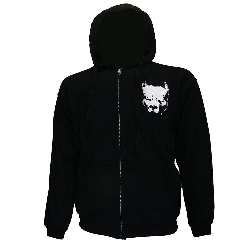 Hardcore Pitbul Logo Zipper Hoodie Black White
