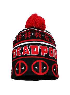 Deadpool Marvel Comics Deadpool Logo&Face Beanie Muts met Pompom