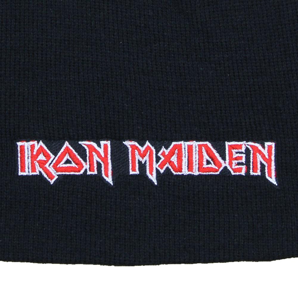Iron Maiden Metal & Rock Iron Maiden Logo Beanie Hat Black White  Red