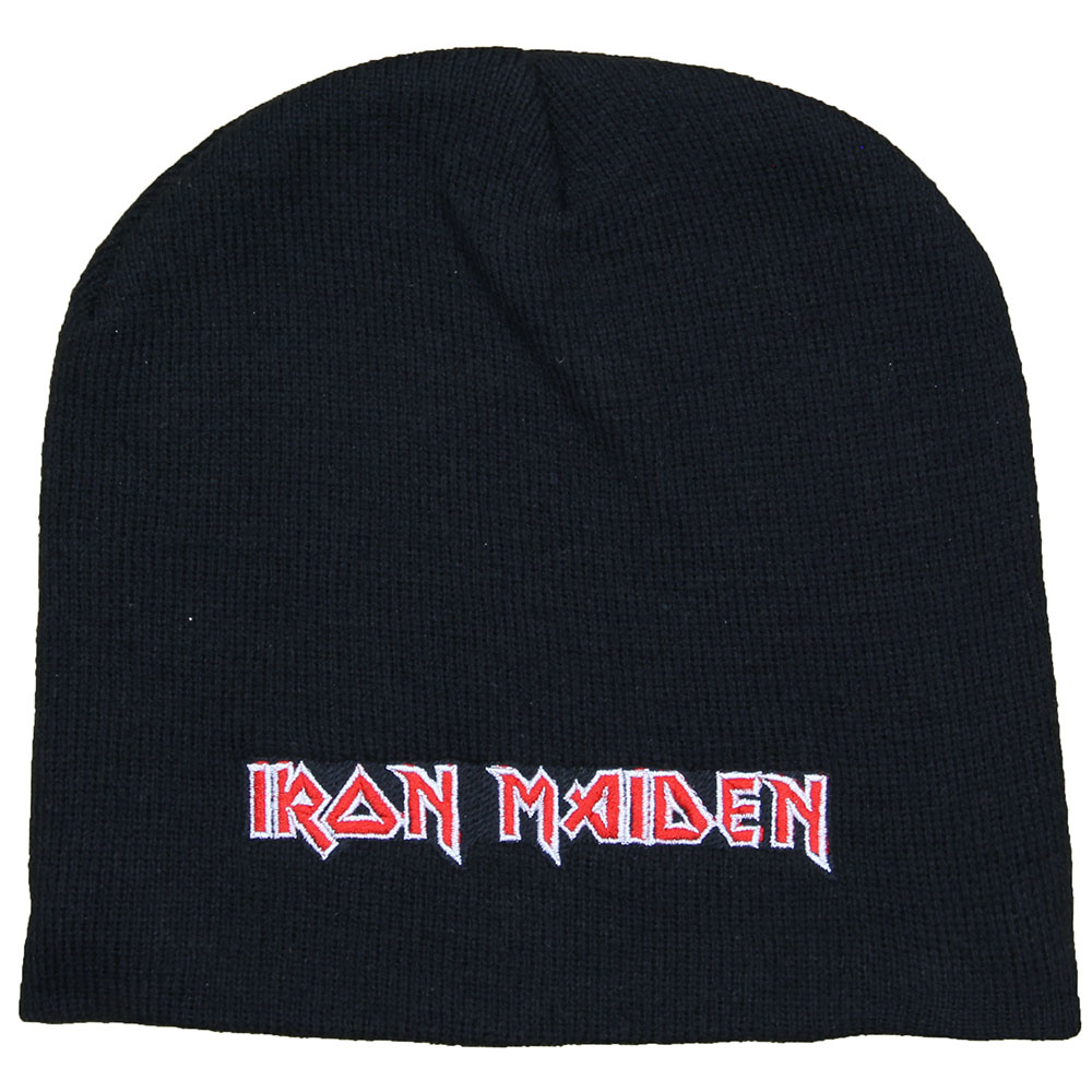 Iron Maiden Metal & Rock  Iron Maiden Logo Beanie Muts Zwart Wit Rood