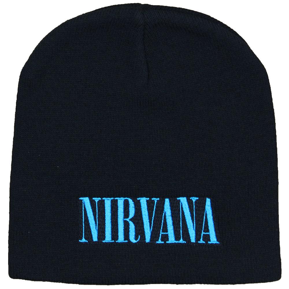 Band Merchandise Nirvana Logo Beanie Muts Zwart Blauw