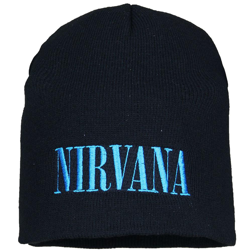Nirvana Metal & Rock Nirvana Logo Beanie Hat Black Blue