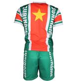 Suriname Suriname Voetbal T-shirt + Broek Set Tenue Wit / Geel / Groen / Rood