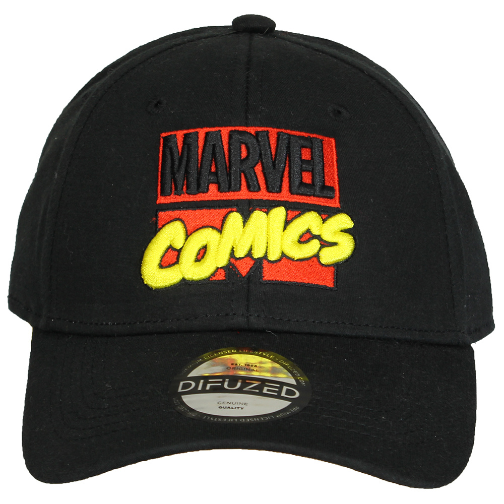 Marvel Comics Captain Marvel Logo Embroidered in Red Baseball Cap Navy White Hat