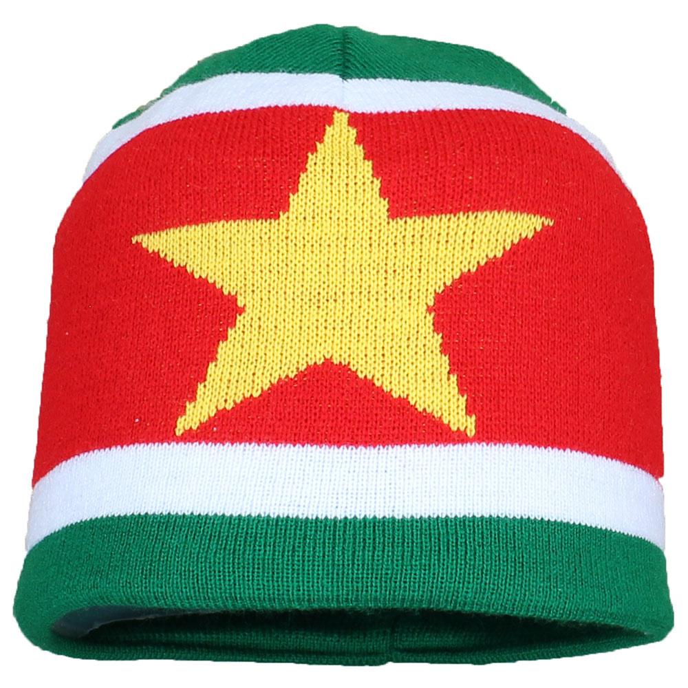 Fun & Fashion Suriname Vlag Muts Flag Beanie Geel / Groen / Rood