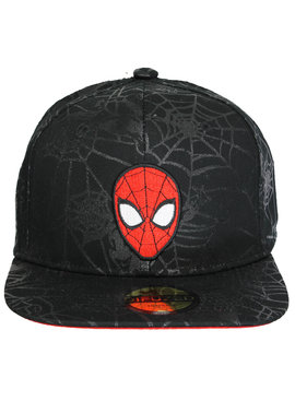 Marvel Comics: The Avengers, Captain America, Spider-Man, The Hulk, Thor, Black Panther, Deadpool, Ant-Man, Iron Man, The Punisher Marvel Spider-Man Black on Black Face Logo Snapback Cap