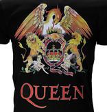 Metal & Rock Queen Classic Crest Logo Band T-Shirt Zwart / Geel / Rood