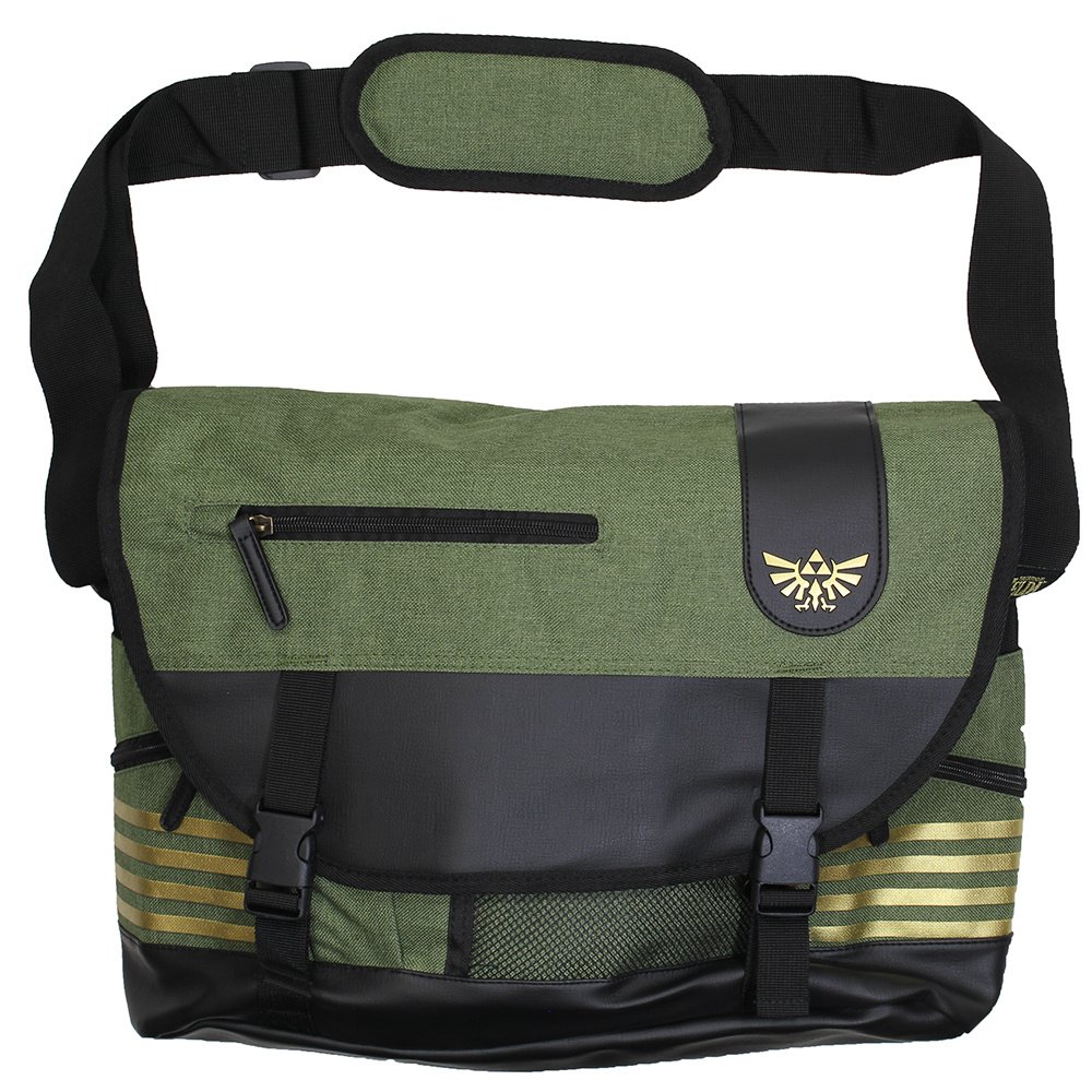 The Legend of Zelda The Legend of Zelda Elaborated Hyrulian Crest Logo Messenger Bag Green / Black / Gold